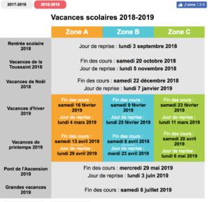 Vacances Scolaires Et Jours Feries Avec Vos Cheques Vacances 2018